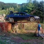 a car on a stilt
